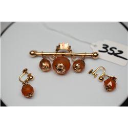 """10K Victorian Faceted Carnelian Earrings & Bar Pin Set - Earring 1 1/4"""", Pin 2 1/2"""""""