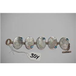 "Blue Topaz & Mother of Pearl Bracelet 9"" - Sterling Silver, 5 MOP Pieces w/Blue Topaz"