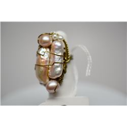"""8-Pearl Ring (Size 5) 1 1/2"""" x 3/4"""", Champagne Hues, Handmade Gold Tone Wire Mount"""