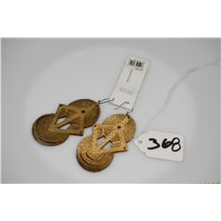 "Pair: Gilded Leather Earrings - Geometric Pattern, 2 1/4"""