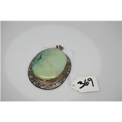 """Blue-Green Turquoise & Sterling Silver Pendant 3 3/4"""" 2 1/4"""", Curled Motif w/Rope Border"""