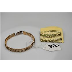 """Lauhala Bracelet 2 1/2"""" Dia., Silver Alloy w/Gold Filled Wire, Donna Lee Cockett, Not Hallmarked"""