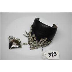 Black Cuff Bracelet w/Dangling Rhinestones - Black Composite, Metal Alloy