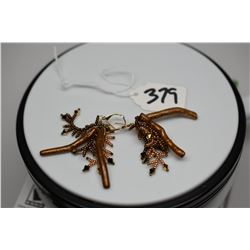 """Pair: Costume Dangle Earrings 2 1/4"""" - Gold/Brown Tones, Composite Branches, Plastic Beads"""