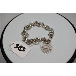 """Tiffany & Co. Sterling Silver Link Bracelet w/ Heart Charm, 7 1/2"""""""