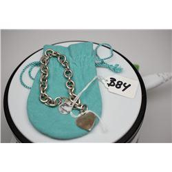 Tiffany & Co. Sterling Silver Link Bracelet w/ Heart Charm