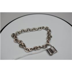 "Tiffany & Co. Sterling Silver Link Bracelet  7 1/2"" w/ Padlock Charm"