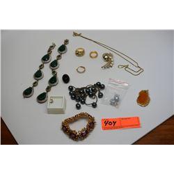 Large Lot of Jewelry: Black Pearls, Semi-Precious Stones, Earrings, Rings, Pendants