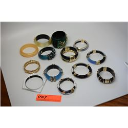 Qty 12 Misc. Alexis Bittar Designer Lucite Bracelets (Various Styles/Colors) and 1 Jade Bracelet