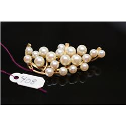 Ming's 20-Pearl Cluster Brooch - Cultured Pearls,14K Yellow Gold