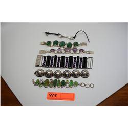 Qty 6 Silver Bracelets w/Various Semi-Precious Stones (Amethysts, Citrine, etc.)