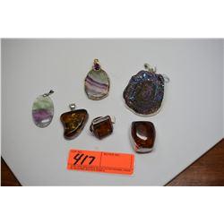 Qty 6 Silver Pendants w/Various Semi-Precious Stones (Amber, Iridized Quartz Crystals, etc.)