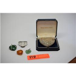 Qty 5 Silver Pendants w/Various Semi-Precious Stones (Amber, Jadeite, etc.)