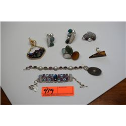Misc. Jewelry Lot: 6 Pendants, 2 Bracelets (Iridized Quartz Crystals, Topaz, Pearls)