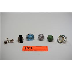 6 Misc. Semi-Precious Stone Designer Rings (Amethyst, Blue Topaz, etc).