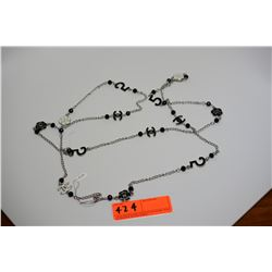 Silver Chanel Chain Link Necklace w/Black and White Enamel & Beads