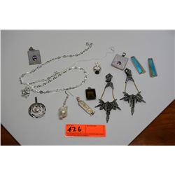 Misc. Jewelry: Necklaces, Earrings, Pendants (Semi-Precious Stones: Opals, Smoky Topaz)