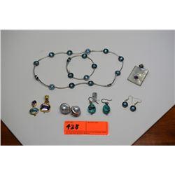 Blue Stone Necklace, Earrings & Bracelet Set & Misc. Earrings, Pendants w/ Stones