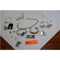 Large Lot of Misc. Necklaces, Earrings, Bracelets, Pendants (Blue Topaz, Amethyst, etc.)
