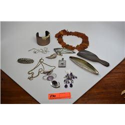 Large Lot of Misc. Necklaces, Bracelets, Pendants, Chains, Misc. (Amethyst, Misc. Stones)