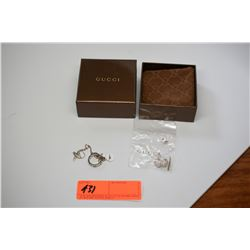 "Tiffany & Co. Silver ""X"" Chain, Band Ring and Gucci Cuff Links"
