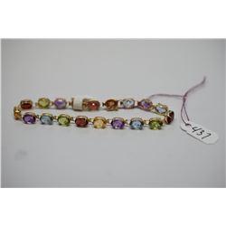 14K Link Bracelet w/ Multiple Gemstones (Amethysts, Aquamarines, Citrines, Peridots, etc)