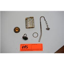 Misc. Items: Rings, Bookmarker, Vintage Lighter, etc.