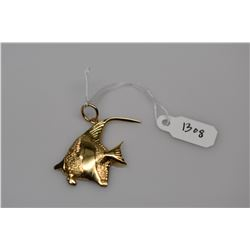"14K Gold ""Angel Fish"" Pendant - 14K Yellow Gold, 4.2 g"