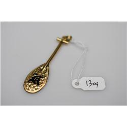 "14K Gold & Black Enamel ""Canoe Paddle"" Hawaiian Pendant w/Initial ""K"" - 14K Yellow Gold, 5.9 g"