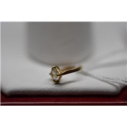 14K Gold Charm - Engagement Ring Design w/1 Round Cubic Zirconia .08 ct, 14K Gold, .2 g