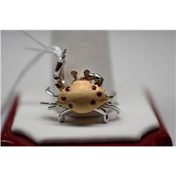 Crab Pendant w/Diamonds & Rubies - 2 Diamonds (.02 ct Approx. Total Wt), 6 Rubies (.08 ct Approx. To