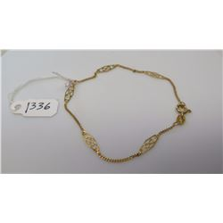 "14K Gold Reticulated Bar & Link Bracelet - 7"" Length, 14K Yellow Gold, 1.3 g"