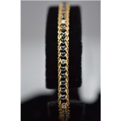 "14K Gold Bracelet w/Diamonds & 41 Sapphires - 7"" L, Sapphires (1.23 ct), 8 Diamonds (.24 ct), 6.7 g"