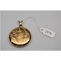 14K Locket Pendant - Round w/Engraved Leaf & Scroll Motifs, 14K Gold, 10.7 g