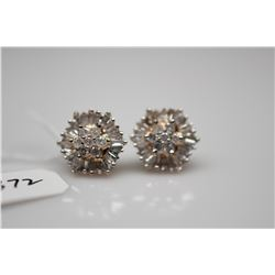 Hexagonal Diamond Stud Earrings - Total 62 Diamonds, 1.92 ct total wt, Imperfect Clarity, 10K Yellow