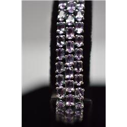Amethyst Link Bracelet - 101 Amethysts 5x3mm (25.25 ct), 925 Silver, 28.9 g