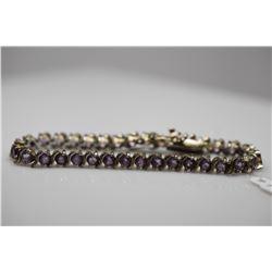 "Amethyst Tennis Link Bracelet - 6 3/4"" L, 33 Amethysts 4mm (8.25 ct), Silver, 16.6 g"