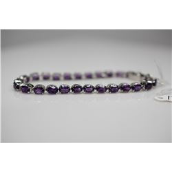 "Amethyst Link Bracelet - 7 1/8"" L, 27 Amethysts 4x6mm (13.3 ct), 925 Silver, 13.0 g"