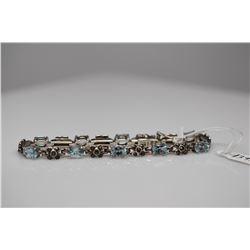 "Aquamarine Link Bracelet - 6 3/4"" L, 9 Aquamarines 5x7mm (6.75 ct), 49 Marcasites, 13.4 g"
