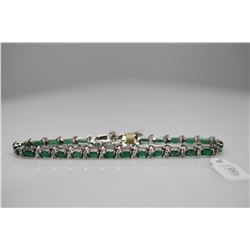 "Emerald & Diamond Tennis Link Bracelet - 7 1/8"" L, 28 Emeralds (7.0 ct), 13 Diamonds (.065 ct), 14K,"