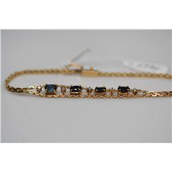 "Sapphire & Diamond Bracelet - 7 1/8"" L, 4 Sapphires (1.0 ct), 4 Diamonds (.08 ct), 14K, 5.1 g"