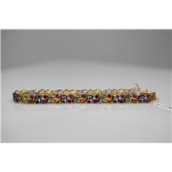 """14K Link Bracelet w/Tanzanites, Blue Topaz, Amethysts, Citrines, Peridots, 7 3/4"""" L, 10.3 g"""