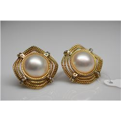 Pearl & Diamond Earrings - Each w/13mm Mabe Pearl, 12 Diamonds (.06 ct), 14K, 10.4 g