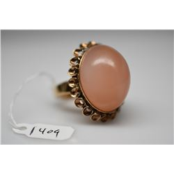 14K Moonstone Cabochon Ring - 24.5x19mm Pinkish-Orange Moonstone, 14K, 18.3 g