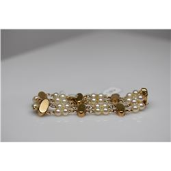 "14K Pearl Bracelet - 7"" Length, 28 Cultured Pearls, Double Row w/ (7) 6.5-8.5mm Oval Links, 14K, 16."