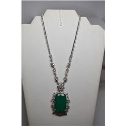 60 ct Emerald Doublet Necklace - 23  L, Emerald Doublet, 339 Cubic Zirconias, 49.4 g, 925 Silver