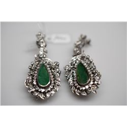 Emerald & Diamond Drop Earrings - Each w/Emerald (5.0 ct), 80 Diamonds (1.70 ct), 27.9 g, 10K