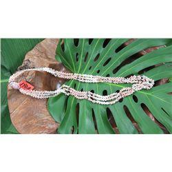 """Kauai Shell Lei - 3 Strands, 43 1/2"""" Multicolored, Momi (""""Dove Shells"""") & Kahelelani (Tuban Shells)"""