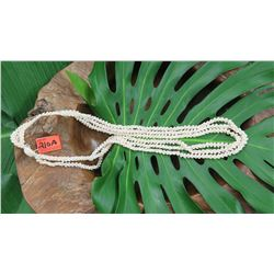"Niihau Shell Lei - 3 Strands, 45 3/4"" Momi Ke'oke'o (White ""Dove Shells"" w/Red Lips)"