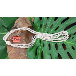 "Niihau Shell Lei - 3 Strands, 38"" Momi Uli Uli (Rare Silver-Grey/Blue ""Dove Shells"")"